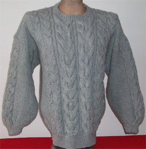 hand knit aran style pullover